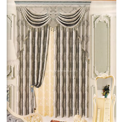 grey pattern valance gray blackout curtains patterned jacquard no valance