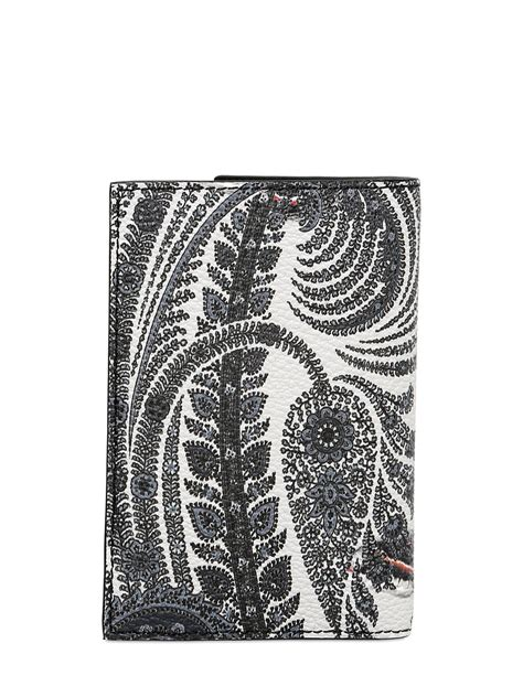 Print Faux Leather Card Holder givenchy paisley print faux leather card holder in white