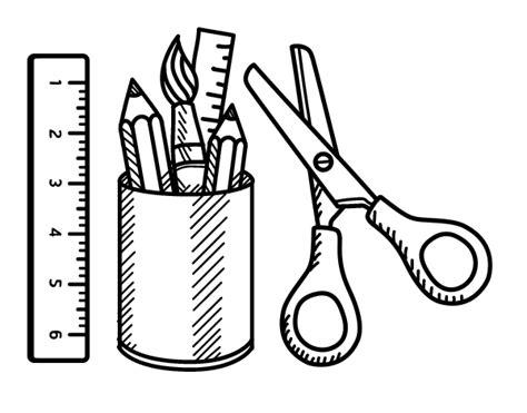 imagenes escolares para iluminar dibujo de el material escolar para colorear dibujos net