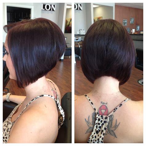 diangonal cut hair style short haircuts front and back beautiful stacked bob bob