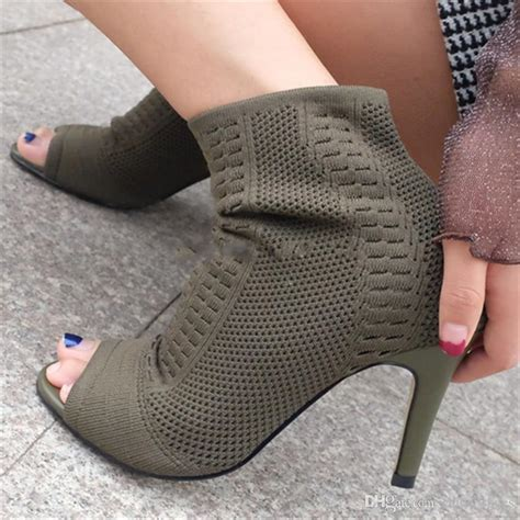 dhgate sock boots green knitted ankle boots stretch peep toe sock booties cut out lace up pumps high