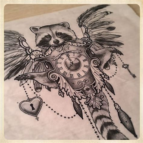 tribal raccoon tattoo black and grey raccoon with clock and wings design