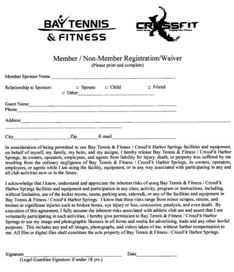 100 fitness waiver form free model release form