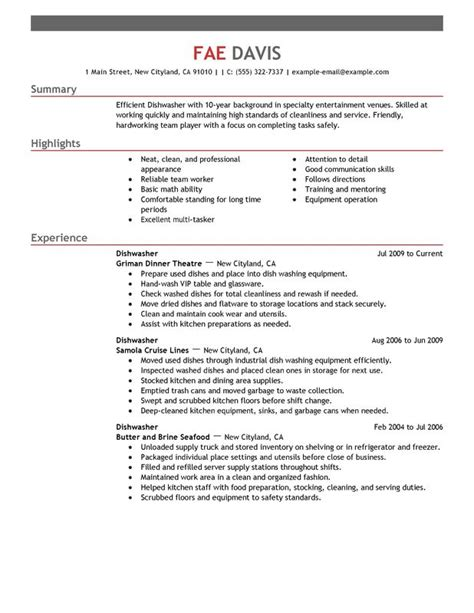 dishwasher sle resume unforgettable dishwasher resume exles to stand out