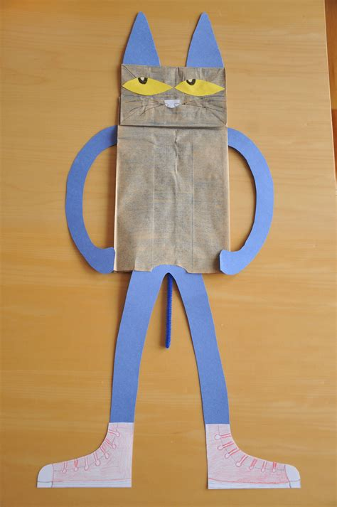 Paper Bag Cat Craft - pete the cat crafts to make