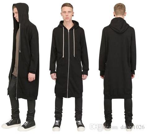2017 hip hop fashion long design zipper men hoodies faux pu leather sleeve men jacket