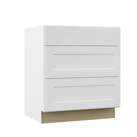 Hampton Bay Shaker Assembled 30x34.5x24 in. Pots and Pans Drawer Base Kitchen Cabinet in Satin