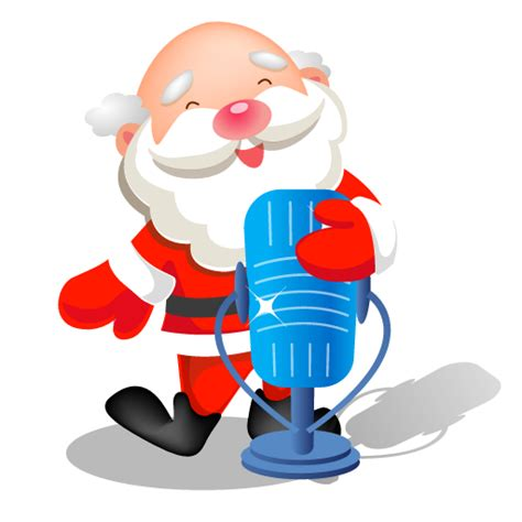 santa singing microphone icon santa iconset mid nights