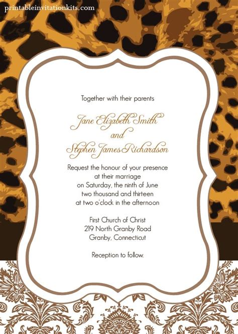 Animal Print Wedding Invitations by Leopard Print Wedding Invitation Wedding Invitation