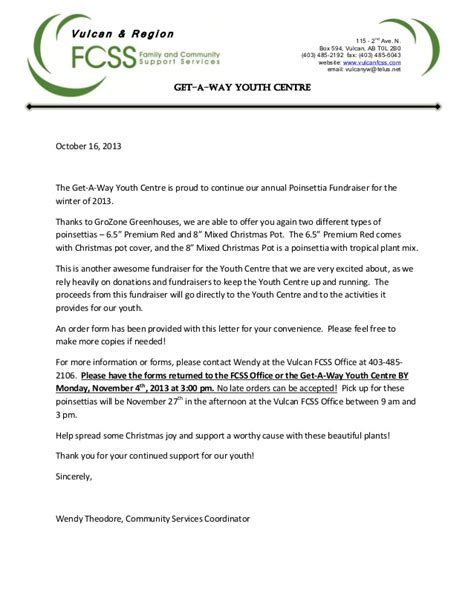 Youth Fundraising Letter Youth Centre Poinsettia Fundraiser Letter