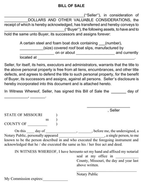 download missouri bill of sale form for free formtemplate