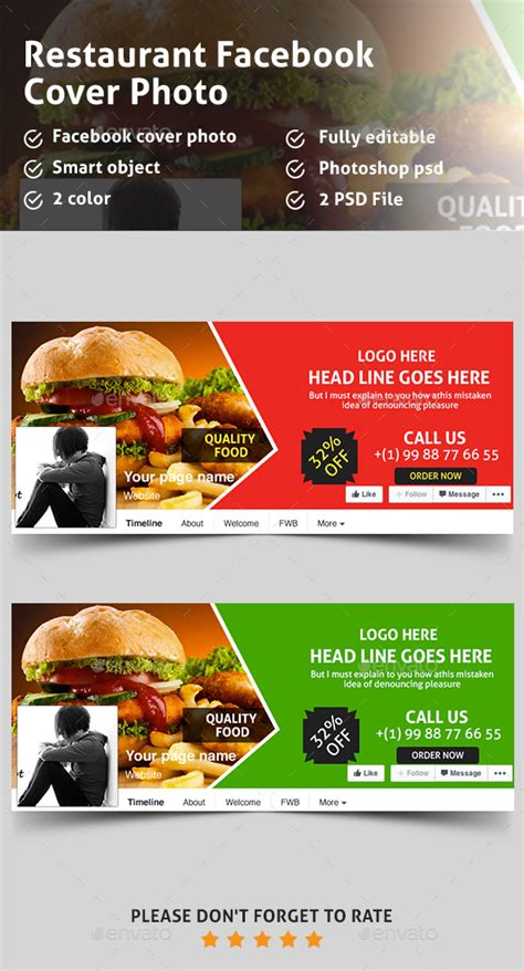 restaurant cover layout food restaurant facebook covers by pixelpick graphicriver