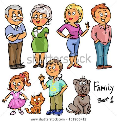 Search Family Members Family Set 1 Comic Family Members Isolated Sketch Stock Vector