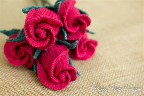 Romantic Home Decor by Crochet Closed Rose Pattern By Happy Patty Crochet