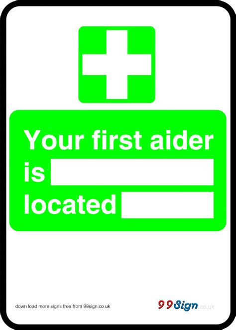 printable vinyl australia free prinable first aid sign your first aider is located