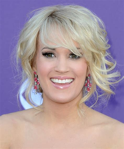 front view of side swept hairstyles carrie underwood updo long curly formal wedding updo