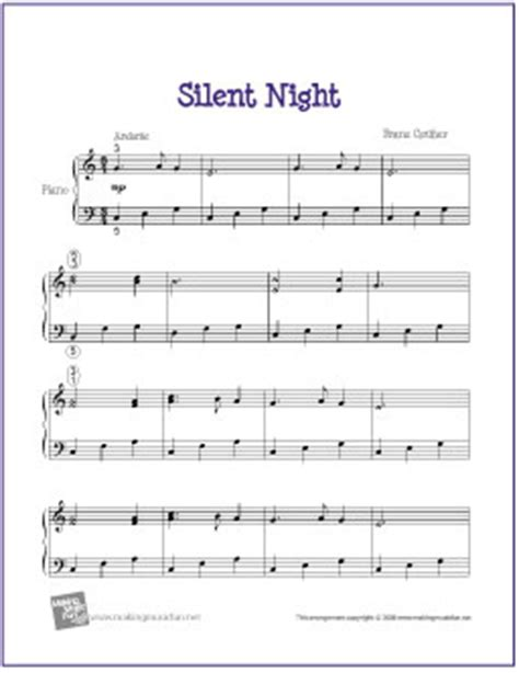 printable sheet music silent night silent night free printable easy piano sheet music my