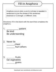 anaphora worksheet anaphora exles definition worksheets for