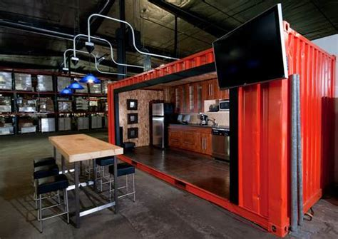 Shipping Containers Transform Warehouse Into Office Space