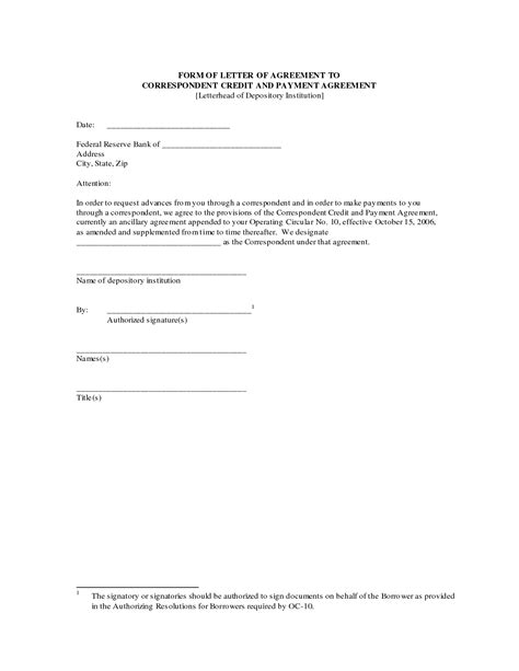 agreement letter printable documents contract