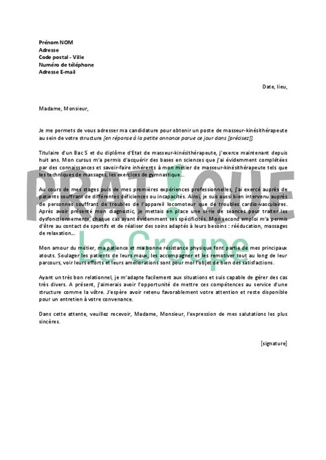 Lettre De Motivation D Un Barman Modele Lettre Motivation Kinesitherapeute Document