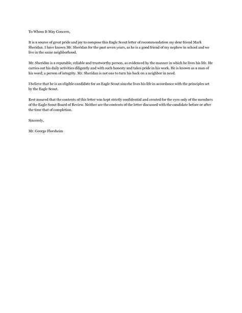 Reference Letter Ex eagle scout letter of recommendation exle cover