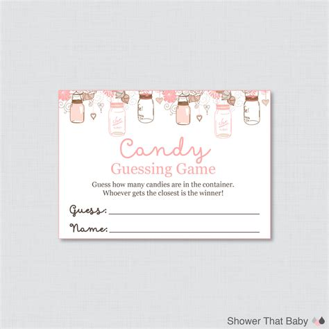 guess my number printable cards mason jar baby shower candy guessing game printable guess
