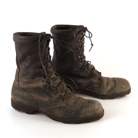 combat boots s vintage 1980s black leather distressed