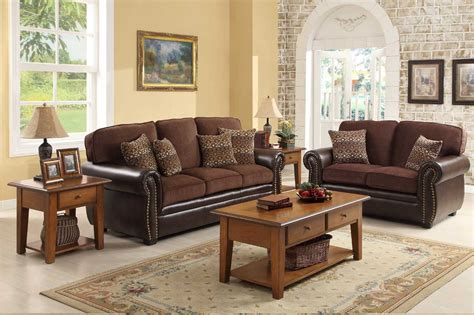 Chocolate Living Room Furniture Homelegance Beckstead Sofa Set Chocolate Chenille And Brown Pu U9735 3