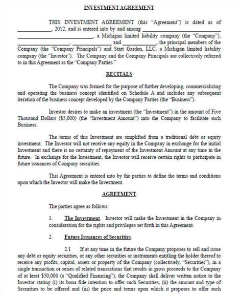 small business investment agreement template business investment contract small business investment