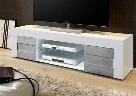 Dionne White Gloss & Concrete TV Stand 181cm