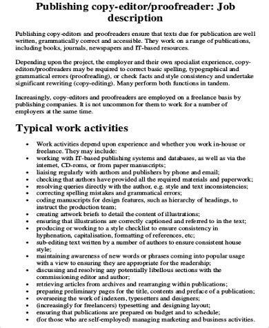 copy editor description 8 copy editor description sles sle templates