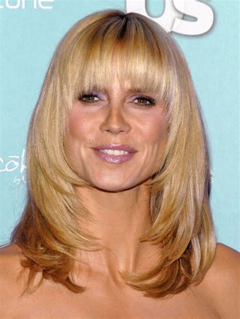 hairstyles medium length with wispy fringe and slightly curly latest popular hairstyles with cool bangs hairstyles weekly