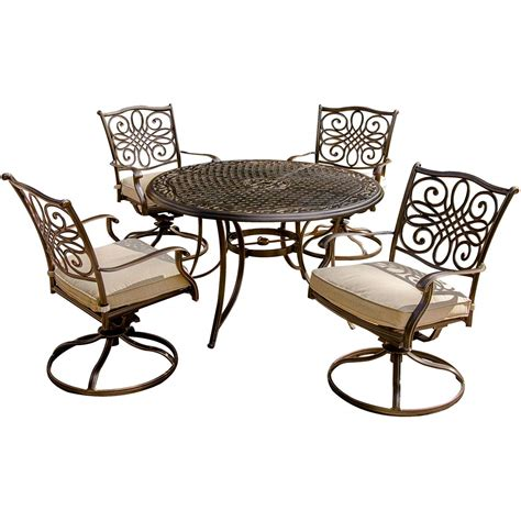 Traditions 5 Piece Dining Set With Four Swivel Chairs And Table With Swivel Chairs