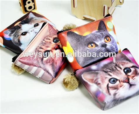 Printed Pu Coin Purse 3d printed pu cat coin purse leather coin wallets