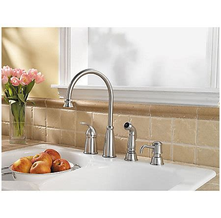 price pfister f 026 4cbs avalon 4 hole single handle lead stainless steel avalon 1 handle kitchen faucet f 026