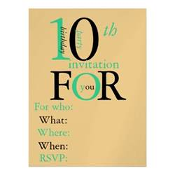 birthday card 10 year boy 10 year birthday invitation 6 5 quot x 8 75 quot invitation