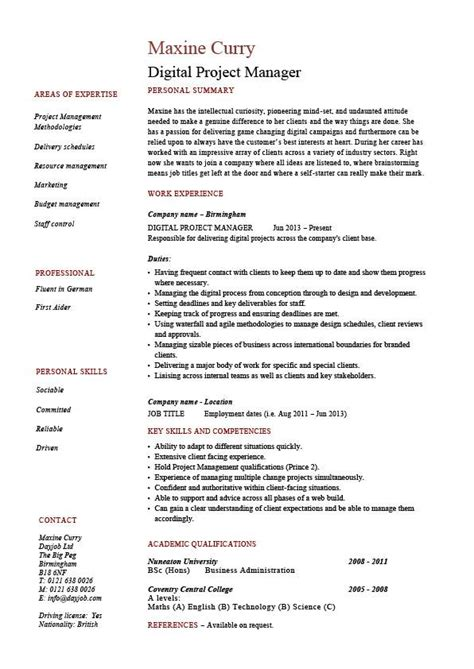 Project Manager Resume by Digital Project Manager Resume Exle Sle