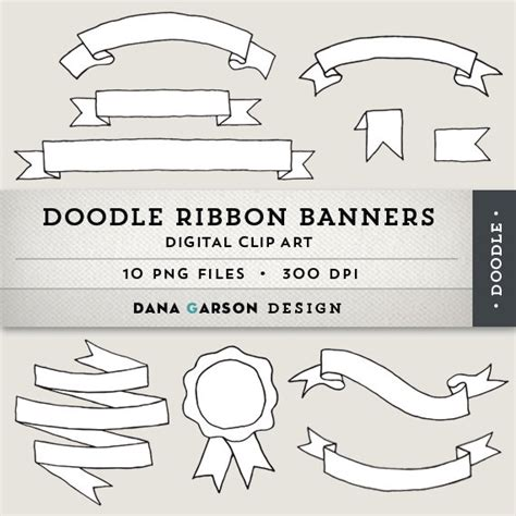 Doodle Ribbon Banners For Invitations Printing Scrapbooking