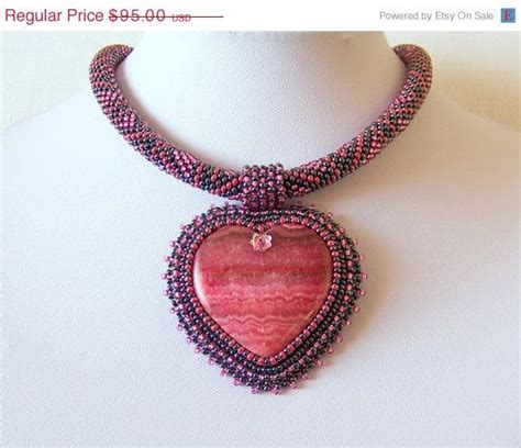 beadwork pink beadwork bead embroidery pendant necklace with agate