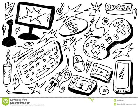 free doodle board doodles set computers stock illustration image