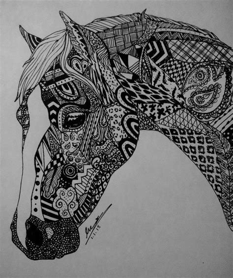 pattern horse drawing zentangle horse by evaclifton on deviantart zen tangled