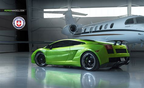 lamborghini private jet green lamborghini gallardo looks stunning alongside