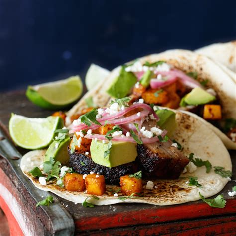 Easy Dinner Party Main Dishes - pork belly tacos with ancho chili roasted pineapple and avocado shared appetite