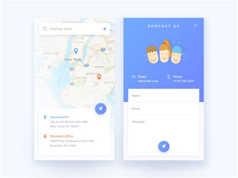 design application in us daily ui 028 contact us daily ui 029 map by hijin nam