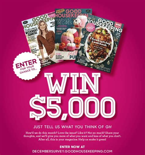 Good Sweepstakes - good housekeeping december survey sweepstakes decembersurvey goodhousekeeping com