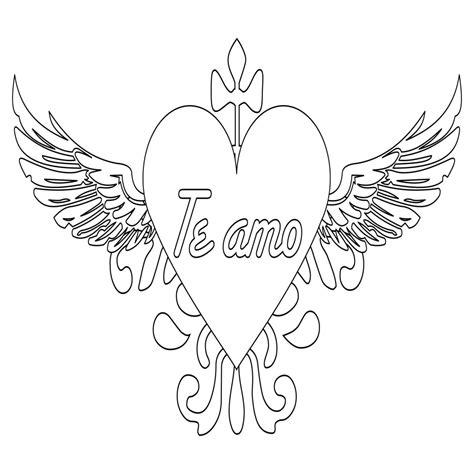 imagenes lindas de corazones para dibujar corazones con alas para colorear www pixshark com