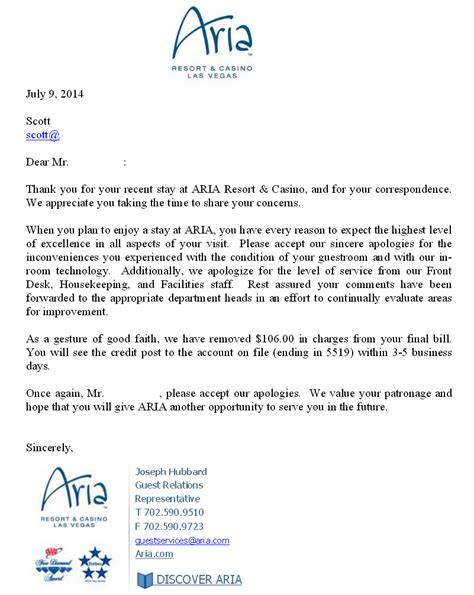 Letter Of Apology For Bad Service In Hotel Resort And Casino Mega Review Las Vegas Nv Scottdotdot