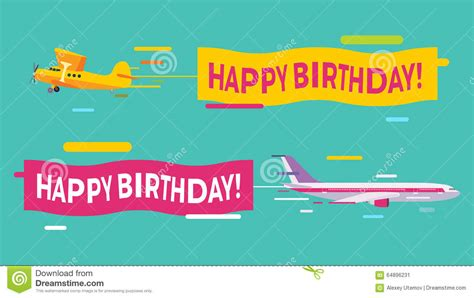 aeroplane template for birthday card plane flying with happy birthday banners stock vector