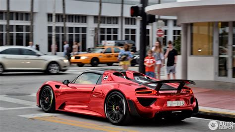 custom porsche 918 porsche 918 spyder with weissach package flaunts chrome